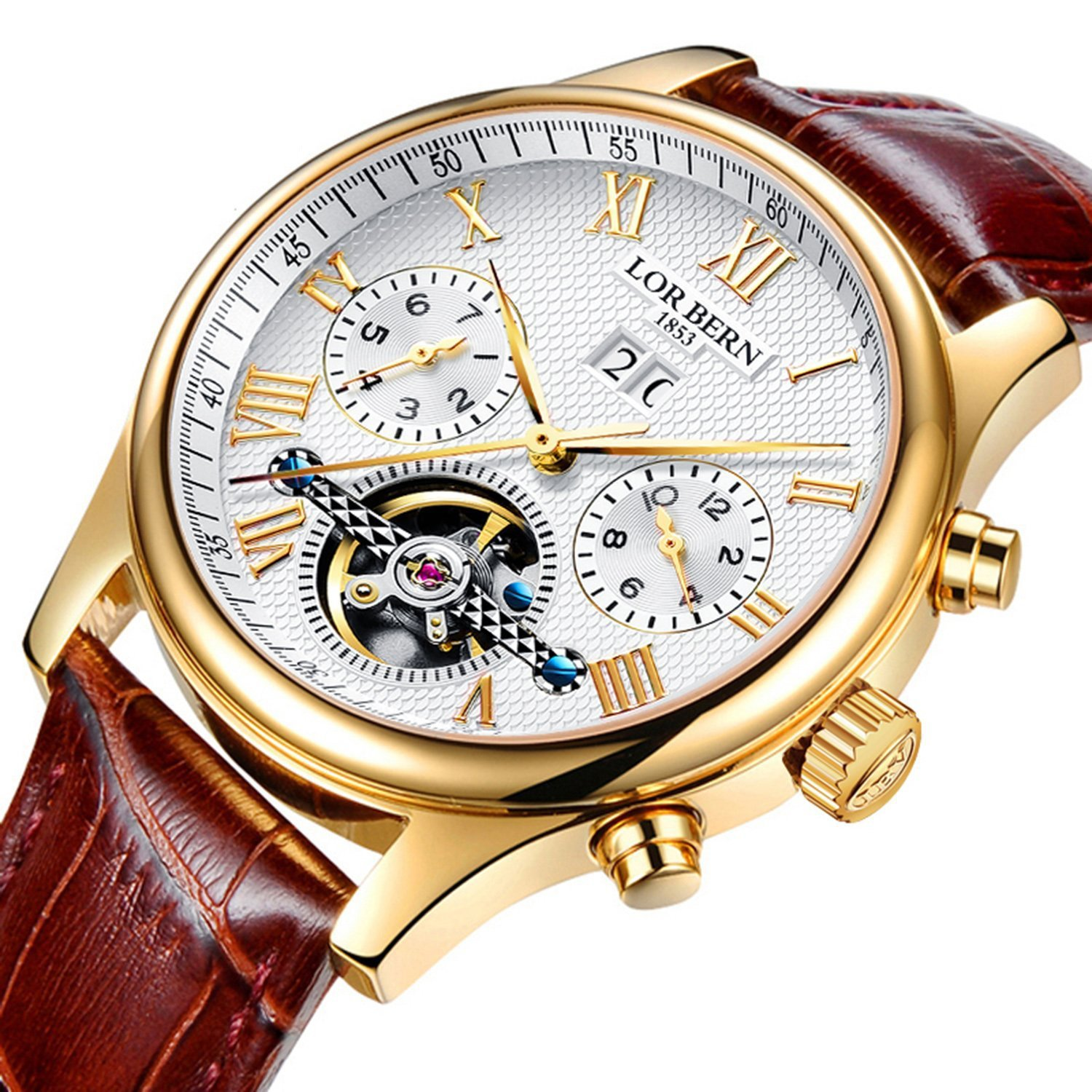 Swiss Brands Mens Automatic Mechanical Wrist Watches Gold Silver Stainless Steel Date Skeleton Watch (Brown Leather)