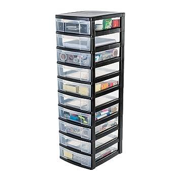 IRIS Cajón con Ruedas de plástico, cajones con 10 cajones, contenedores Negro, Dresser