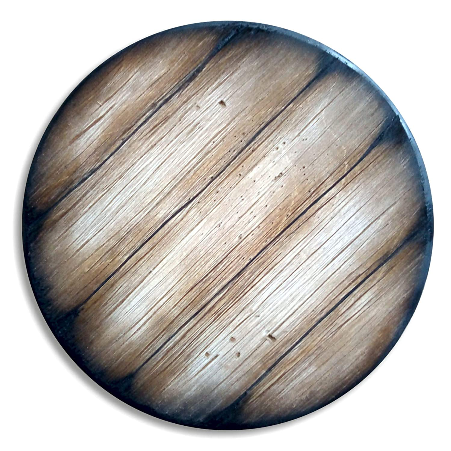 Round Table Top Inspired by Old Wine, Whiskey & Beer Barrels, Size 24/30/36/40/46 Inch, Living Room Bar Kitchen Patio Wood Furniture, Antique Look, Handmade Aged Rustic Table