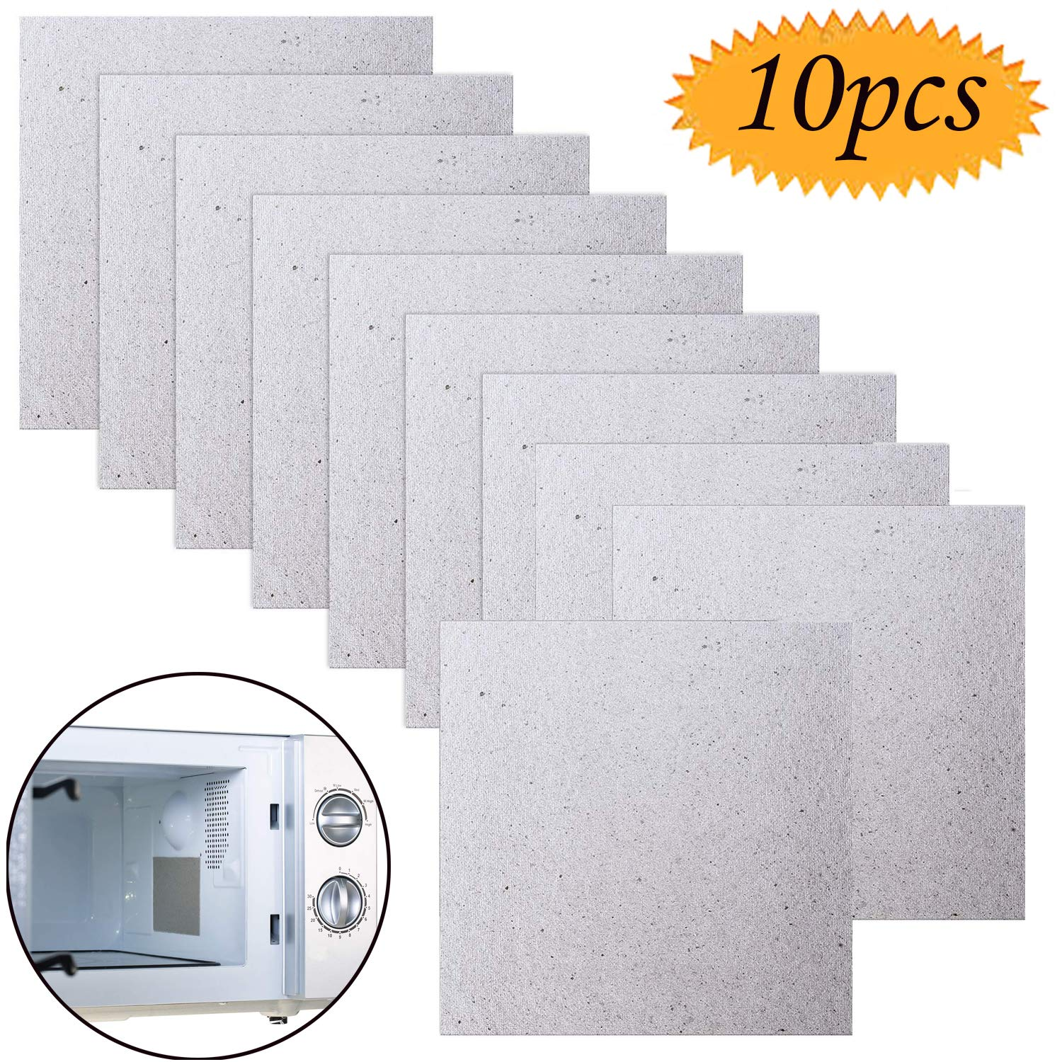 Microwave Mica, Grocery House 10 Pack Waveguide Cover Mica Plates Sheets Microwave Oven Repairing Part Universal Cut to Size 13cm x 13cm Microwave Plate for Home Kitchen Appliances