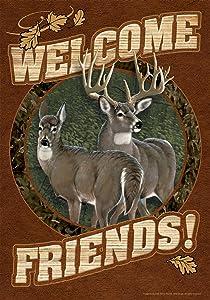 Toland Home Garden Deer Welcome 12.5 x 18 Inch Decorative Fall Autumn Wildlife Buck Doe Friends Garden Flag