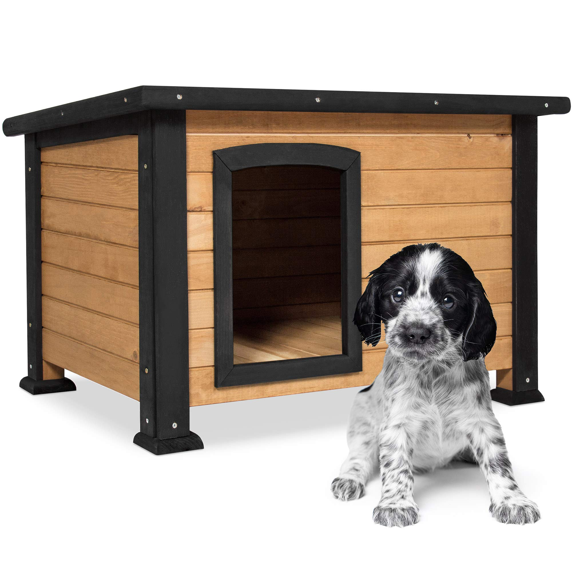 Best Choice Products Wooden Weather-Resistant Log Cabin Dog House Pet Shelter, Brown, w/Opening Roof, for Small Dogs, Outdoor or Indoor Kennel by Best Choice Products