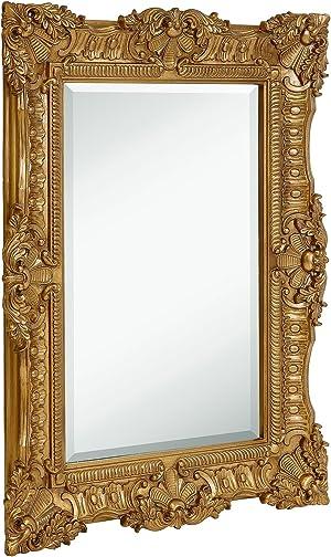Hamilton Hills Large Ornate Gold Baroque Frame Mirror | Aged Luxury | Elegant Rectangle Wall Piece | Vanity, Bedroom, or Bathroom | Hangs Horizontal or Vertical (30
