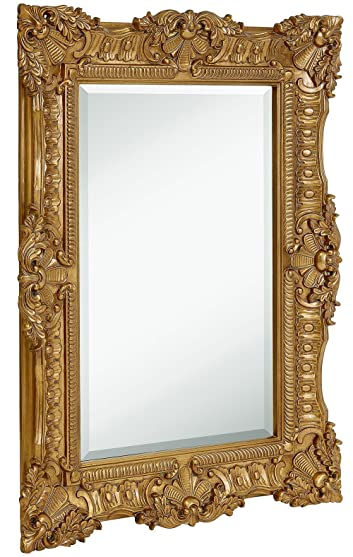 Hamilton Hills Large Ornate Gold Baroque Frame Mirror | Aged Luxury | Elegant Rectangle Wall Piece | Vanity, Bedroom, or Bathroom | Hangs Horizontal or Vertical | 100% (30