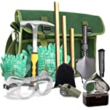 Rock Hounding & Gem Mining Geology Tool Kit (12-Pc Rock Prospecting Set) w/Rock Pick Hammer, 3 Piece Digging Chisel Set…
