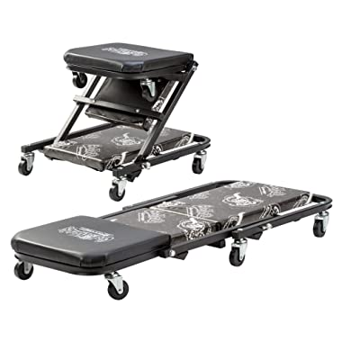 Gas Monkey Z Creeper Mechanic Seat - Six Rolling Casters with 300 Lbs Capacity for Automotive Car Garage