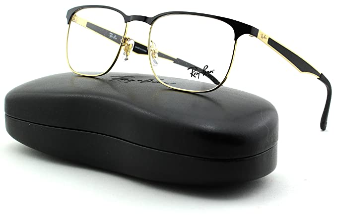 420dfc4a3e Ray-Ban RX6363 Unisex Square Metal Eyeglasses (Gold Top On Black Frame 2890