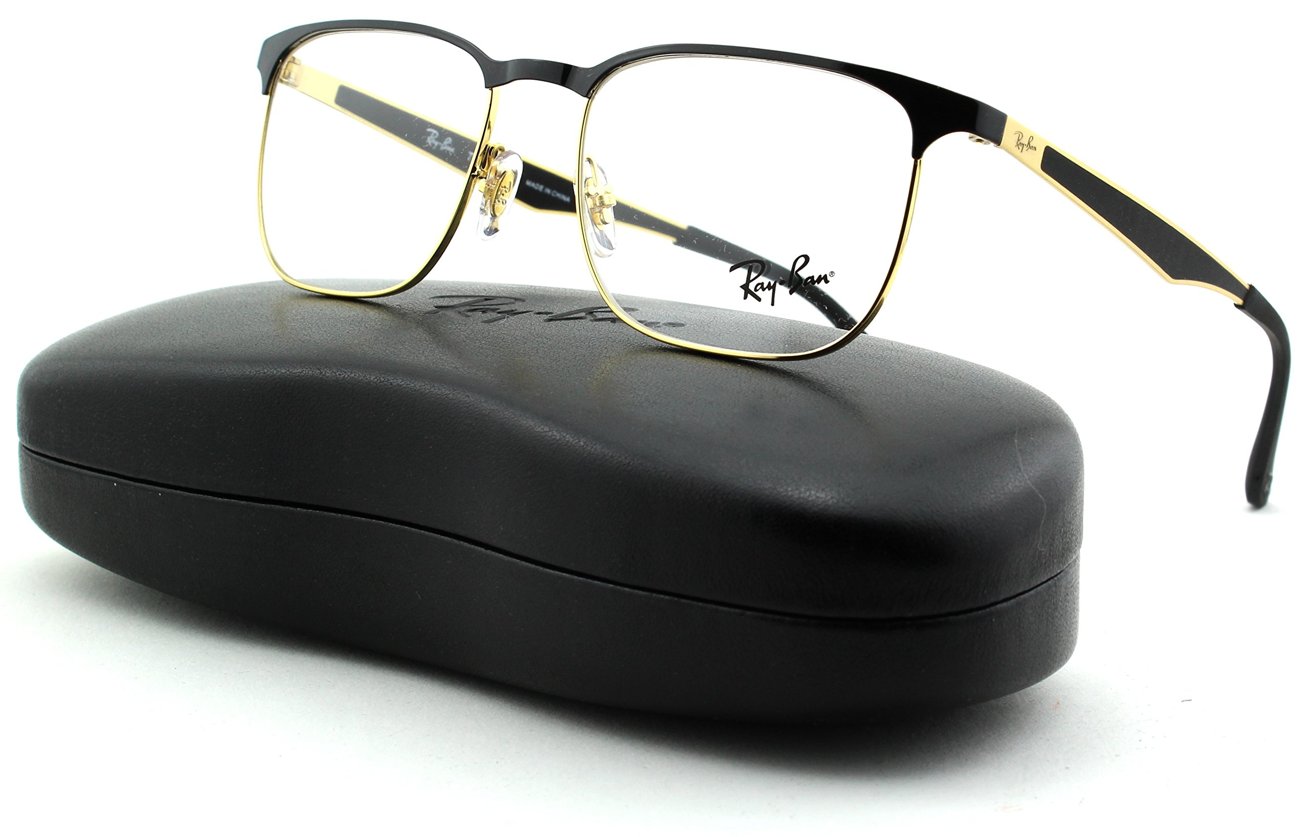Ray-Ban RX6363 Unisex Square Metal Eyeglasses (Gold Top On Black Frame 2890, 54)