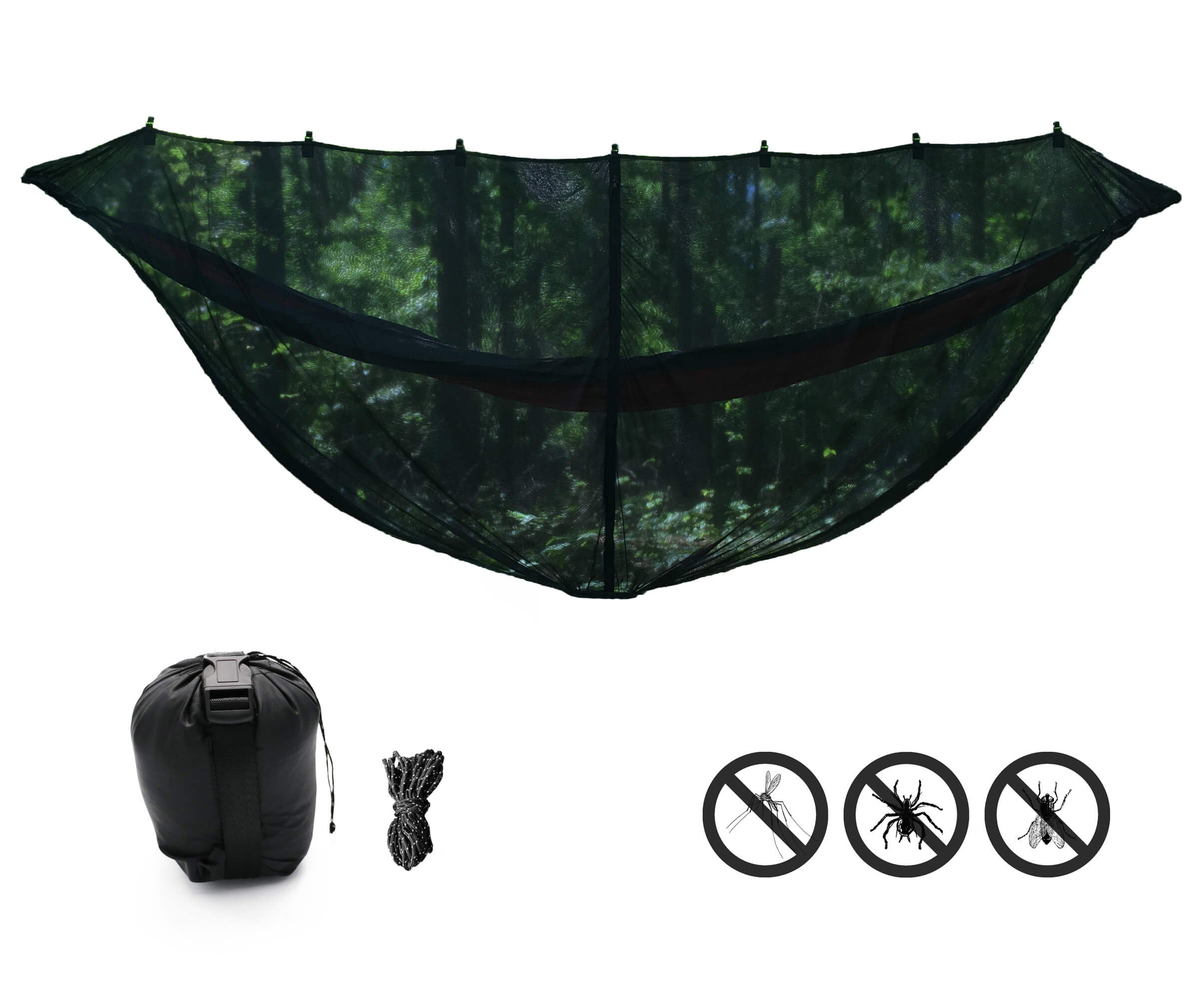 KING OUTFITTERS JUNGLER 11'6'' BUG NET. LARGEST Hammock Bug Net for Diagonal Lay. SECURITY from Bugs and Mosquitoes [Jungle Survival Gear]