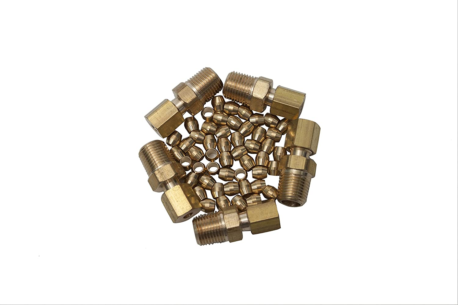 Pack of 55 Ningbo Haishu HuaxinYicheng Trade Co LTWFITTING 1//8 Brass Compression Sleeves Ferrule with 1//8 OD x 1//8 Male NPT Compression Connector Fitting Ltd.