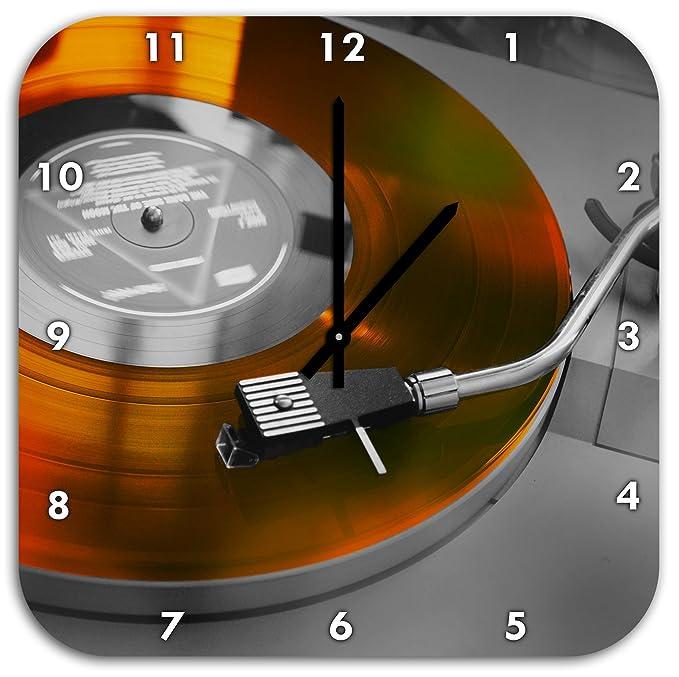 Tocadiscos Antiguo Negro/Blanco, Reloj de pared con las ...