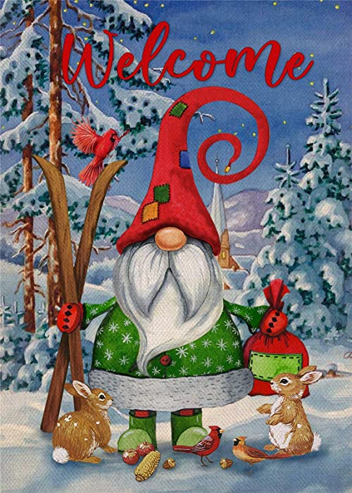 Furiaz Welcome Winter Garden Flag, Christmas Gnome Home Decorative House Yard Small Flag Xmas Cardinal Bunny Rabbit Decor Double Sided, Farmhouse Outdoor Bird Decorations Seasonal Outside Flag 12 x 18