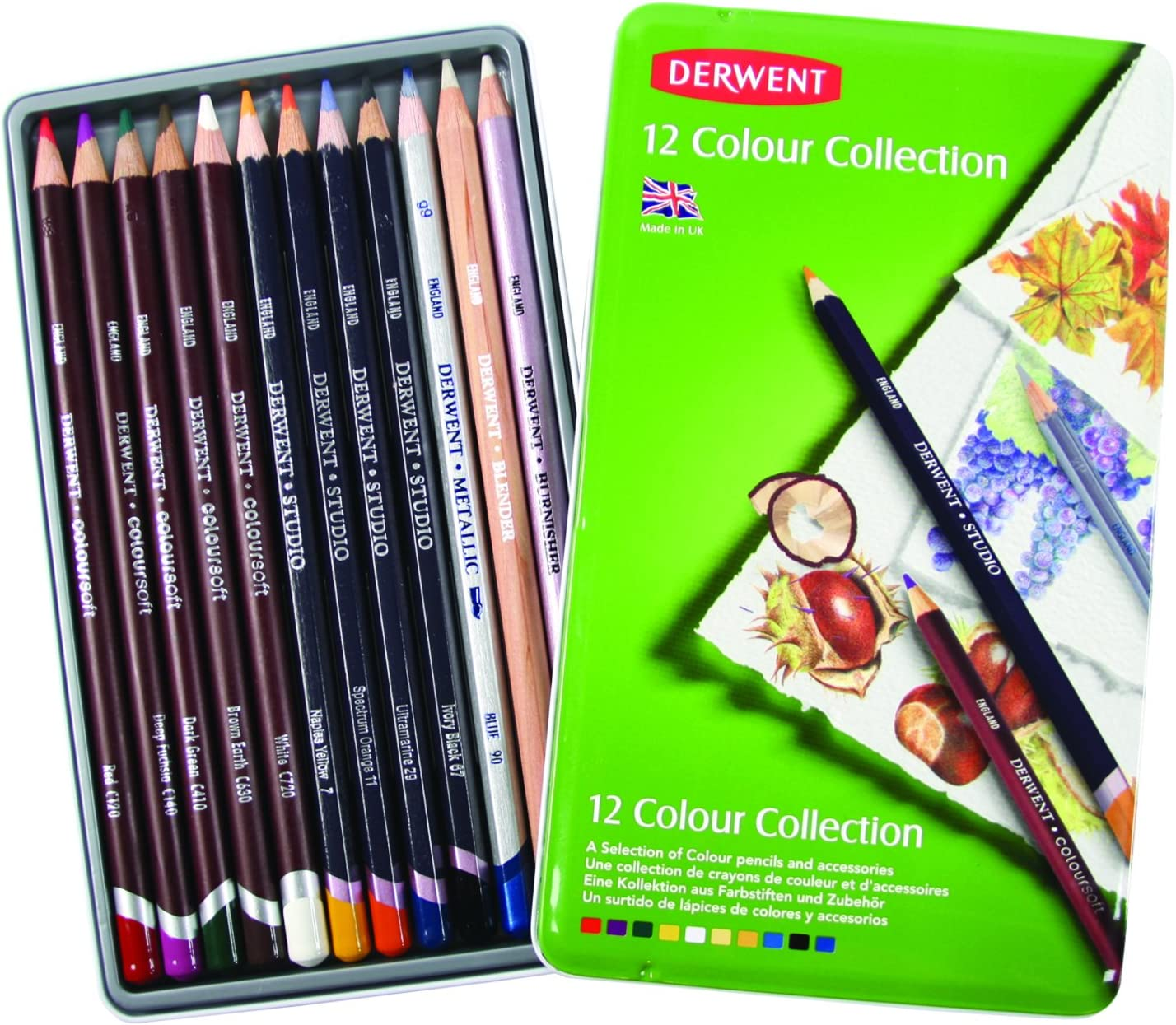 Derwent Colored Pencil Collection, Metal Tin, 12 Count (0700211)
