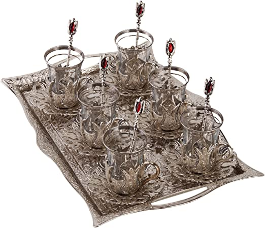 Metal Decorativos Color Bronce Cuchara De Vidrio Conjunto turco Té Azucarera
