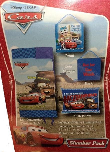 Disney Cars bolsa de dormir convertible, almohada y colgador para puerta