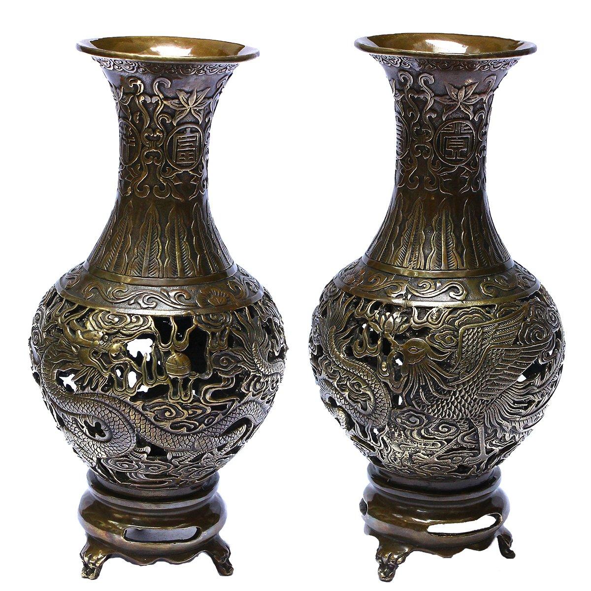 Handicrafts Brass Dragon&Phoenix Decorative Metal Hollow out Carved Three Foot Flower Pot / Vase Bronze Metal Bud Vases Showpieces Copper Finish - Hand Etched Pair/2pcs