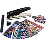 Guitar Pick Punch - Create Custom Guitar Picks in Seconds. Includes 10 Rock & Roll Inspired Pick Strip Sheets to Make 50 Medium Picks + Pick Holder & Pick File - DIY Pick Maker by BridgeWire Music