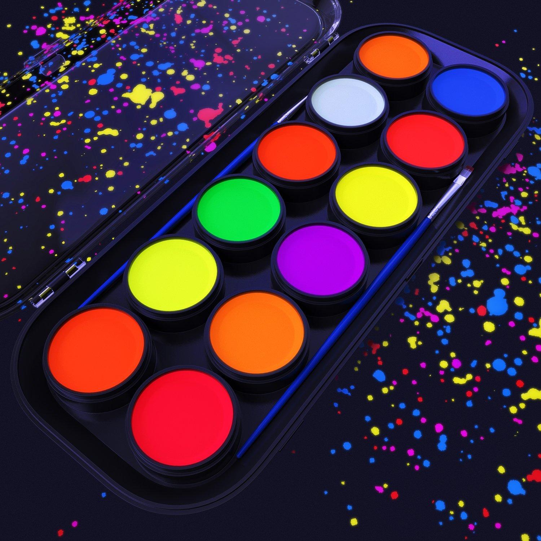 ARTEZA UV Face & Body Paint, 12 Glow in The Dark Colors, Blacklight Reactive, Fluorescent Pallet (Set of 12)