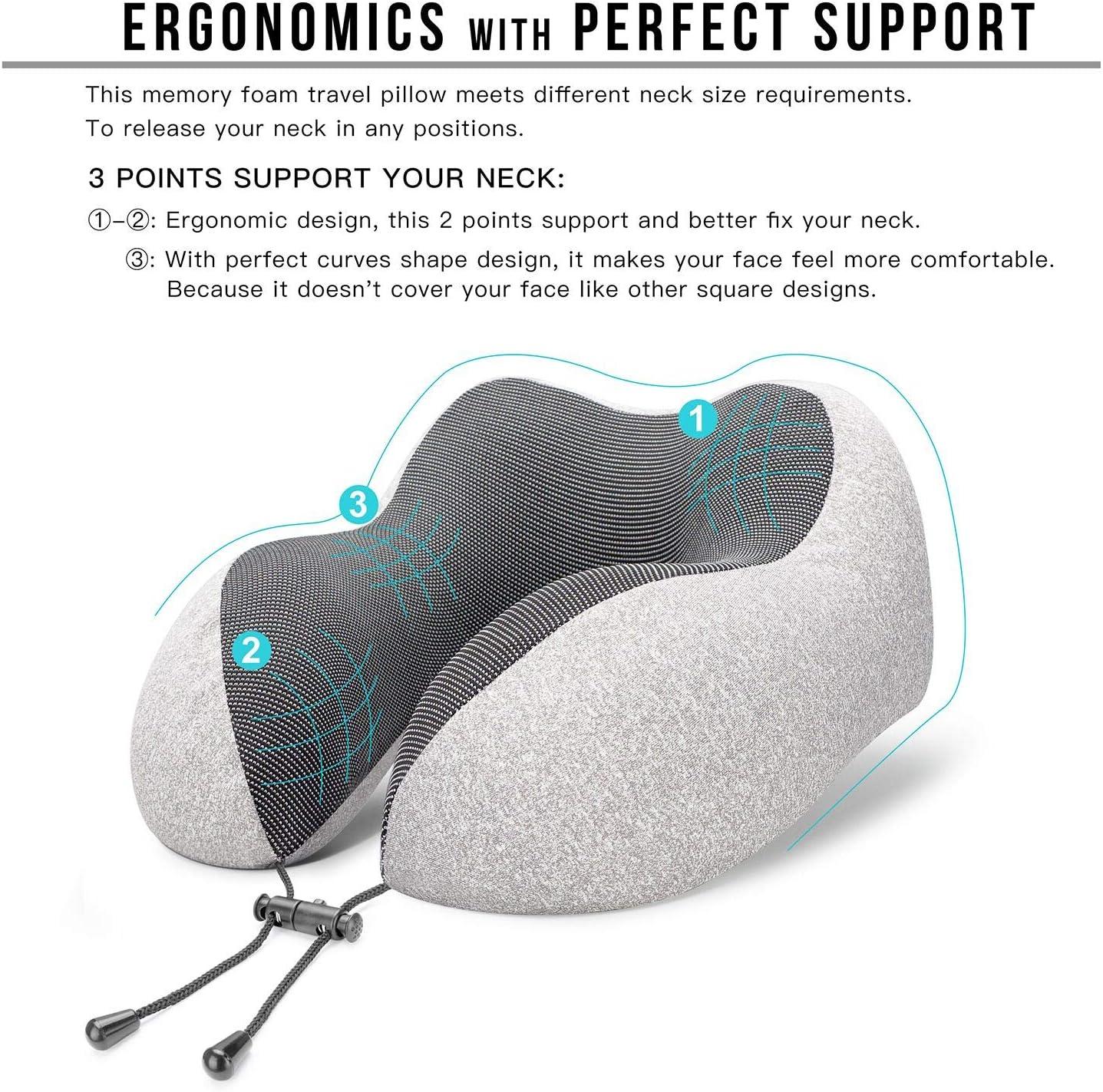 MLVOC Travel Pillow 100% Pure Memory Foam Neck Pillow