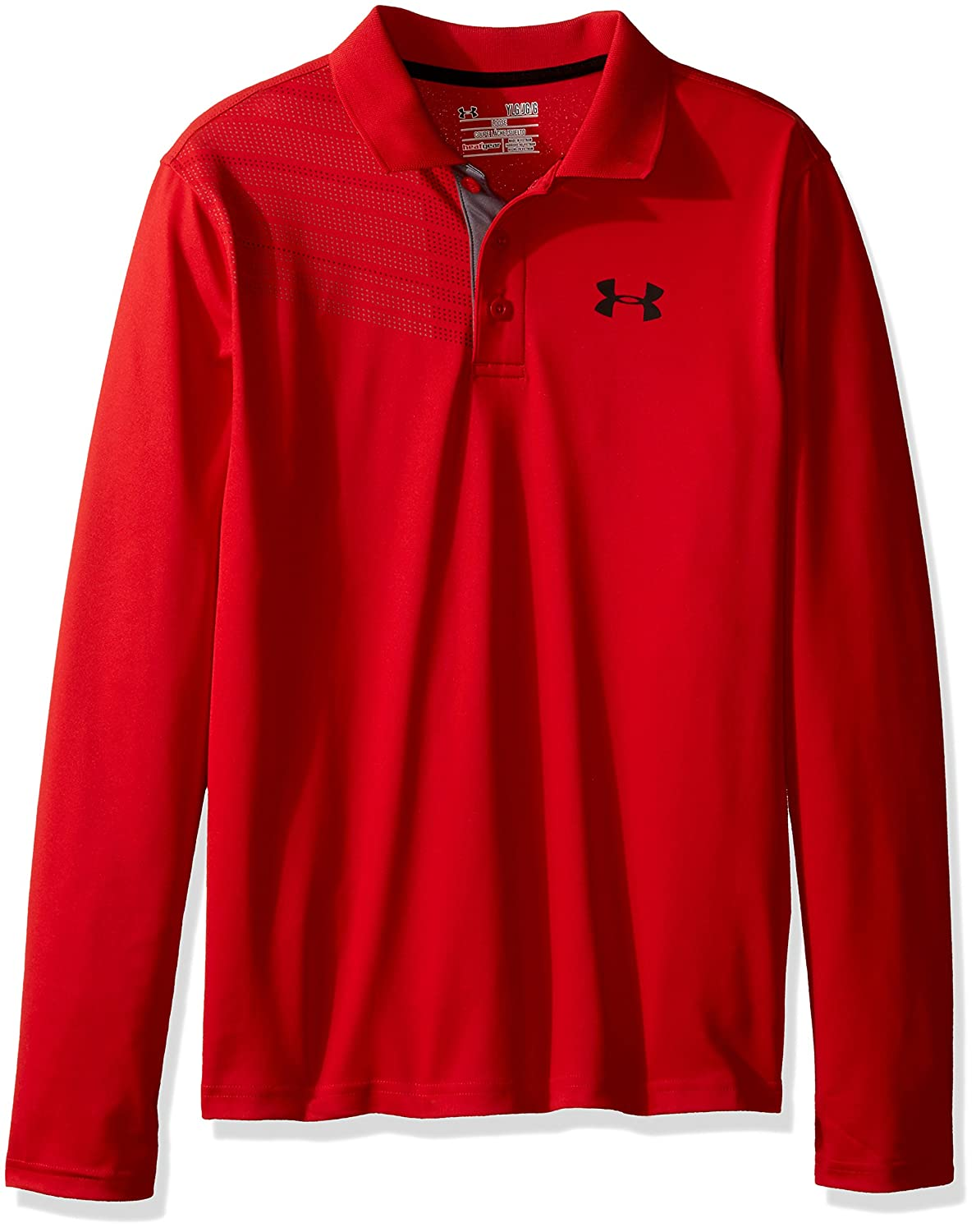 Amazon Under Armour Boys Graphic Long Sleeve Polo Red 600