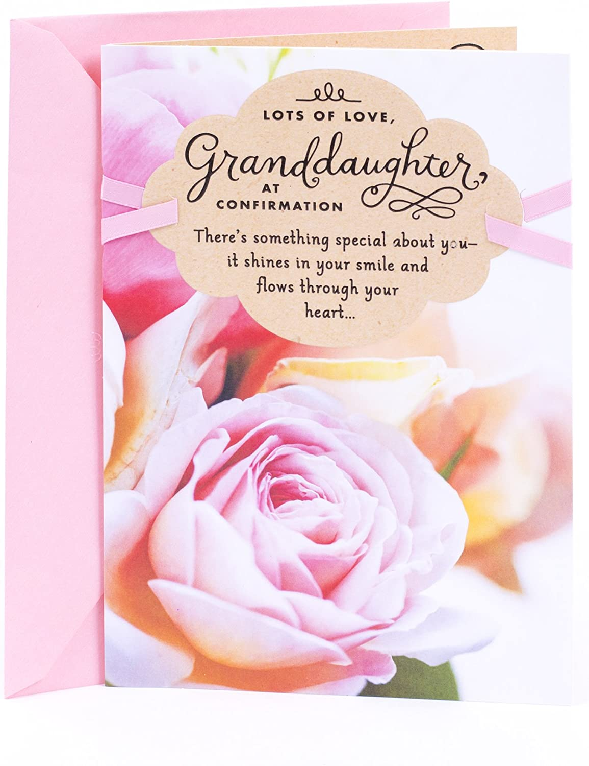 for A Very Special Granddaughter with Love On Your Confirmation Day Card with Pale Pink Ribbon