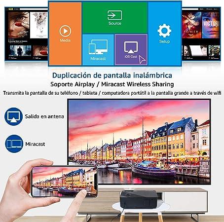 Proyector, FANGOR 6500 Lúmenes Full HD WiFi Proyector 1080P Nativo Vídeoproyector 4K Corrección Tropezoidal Cine en Casa Proyector Bluetooth 65000 Horas, Compatible con HDMI/USB/SD/VGA/AV/TV Box: Amazon.es: Electrónica