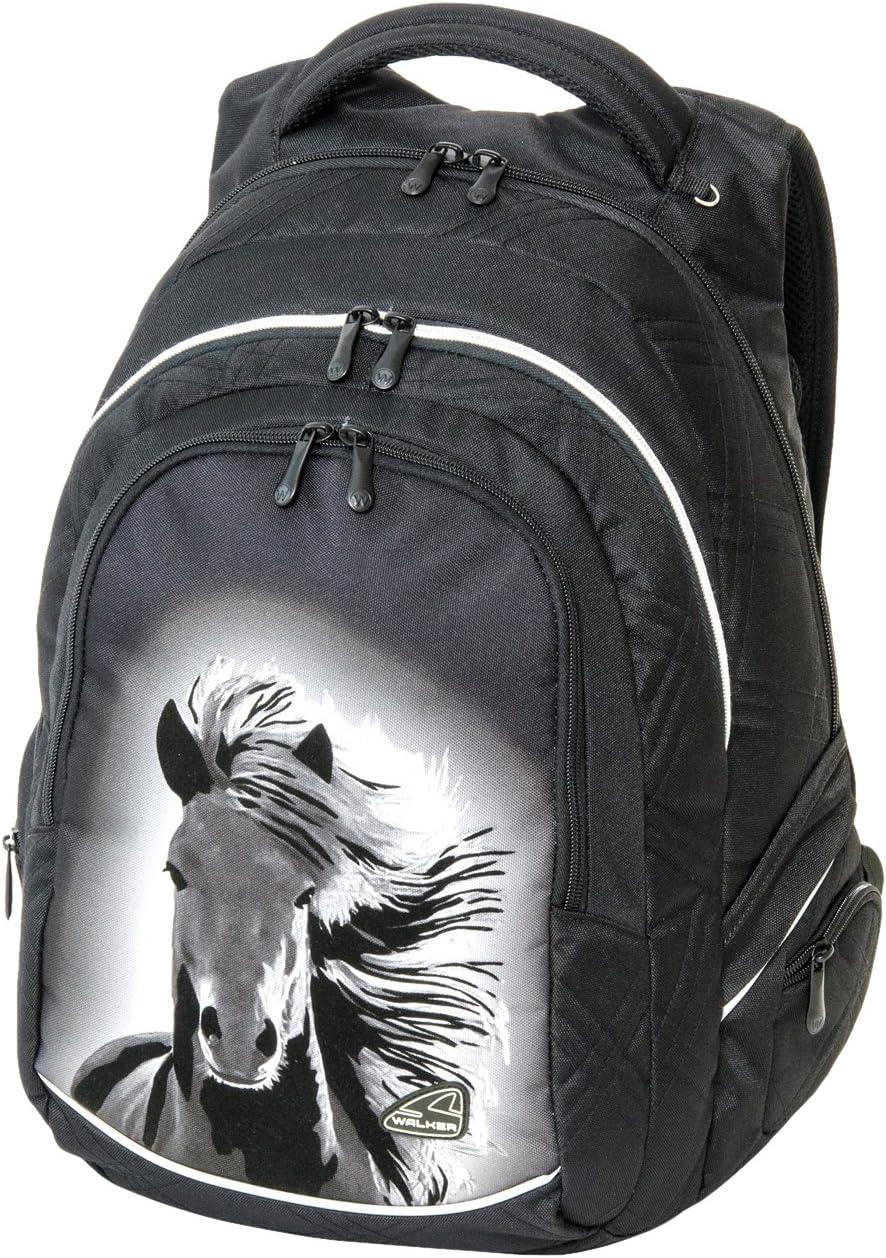 34 Liter schwarz mit 3 Rei/ßverschlussf/ächern Schneiders Vienna 42101-080 Schulrucksack Fame Dream Horse
