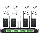 GTD Audio 4x800 Adjustable Channels UHF Diversity Wireless Cordless Lavalier/Lapel/Headset Microphone Mic System 400fts (4 Bo