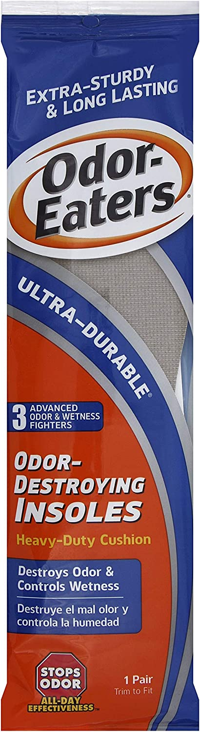 Odor-Eaters Ultra Durable, Heavy Duty Cushioning Insoles, 1 pair (Pack of 4)