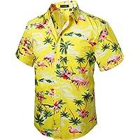 HISDERN Hombre Camisas Hawaianas Funky de Manga Corta Bolsillo Delantero Vacaciones de Verano Aloha Impreso Playa Camisa…