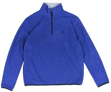 Nautica Men Quarter Zip Logo Fleece Jacket Sweatshirt at Amazon