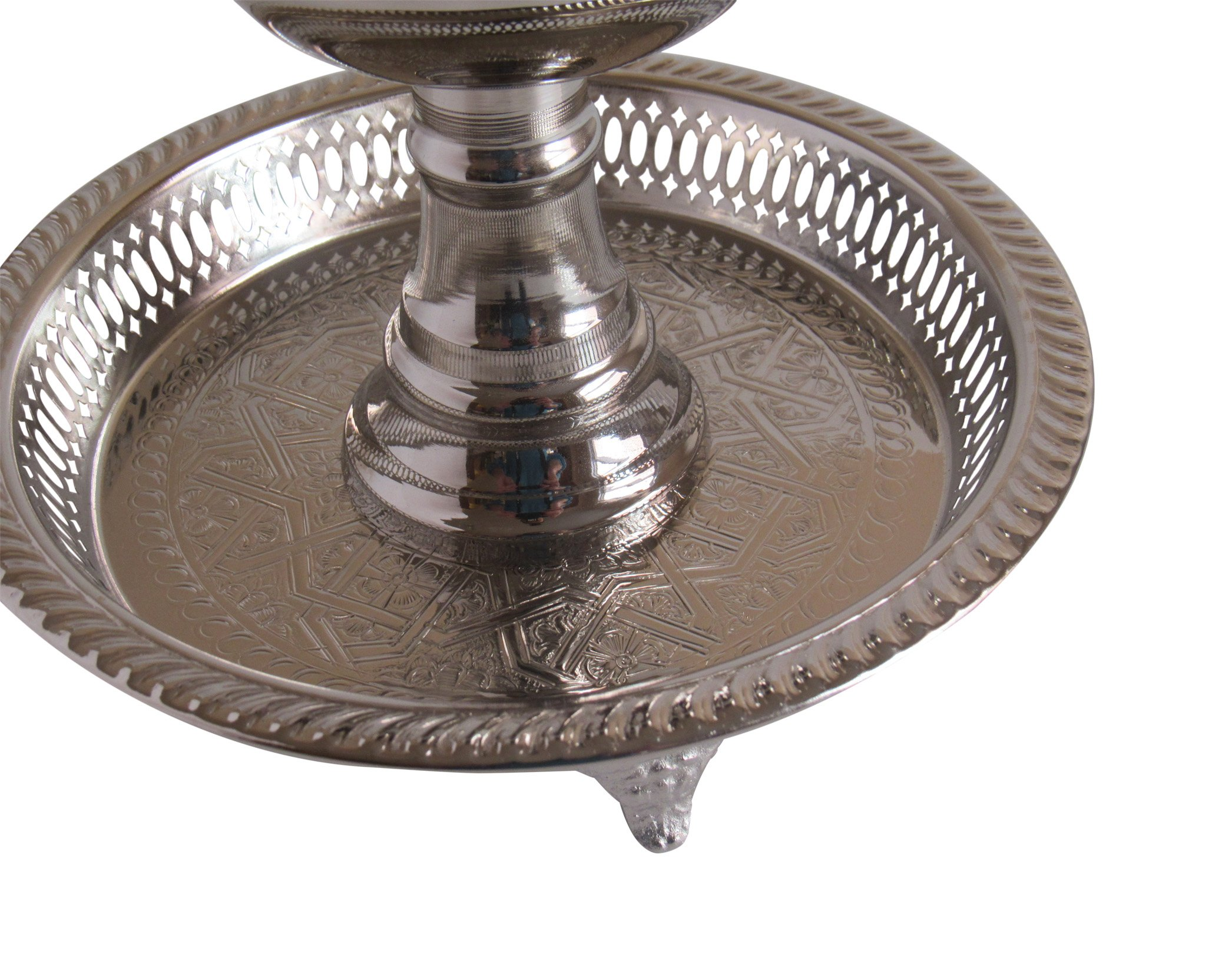 Vintage Styled Handmade Moroccan Silver Plated Engraved Incense Burner with Ash Catcher, Bring Home a Beautifully Functional Near East Tradition, 11x10'' by Handmade Moroccan Teapot (Image #2)