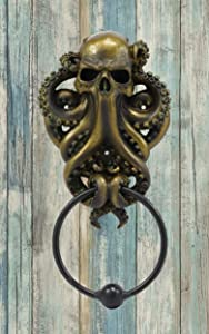 Ebros Gift Bermuda Triangle Ocean Monster Octopus Kraken Ghost of Cthulhu Door Knocker Figurine Decorative Resin Decor Knockers Cephalopod Deep Sea Nautical Sculpture