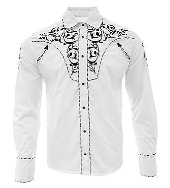 8ed30db85d El General Cowboy Shirt Camisa Vaquera Western Wear Long Sleeve White