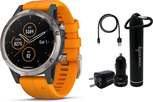 Garmin Fenix 5 Plus Premium Multisport GPS Watch with Maps, Music and Contactless Payments and Wearable4U Ultimate Power Pack Bundle Sapphire Titanium with Orange Band