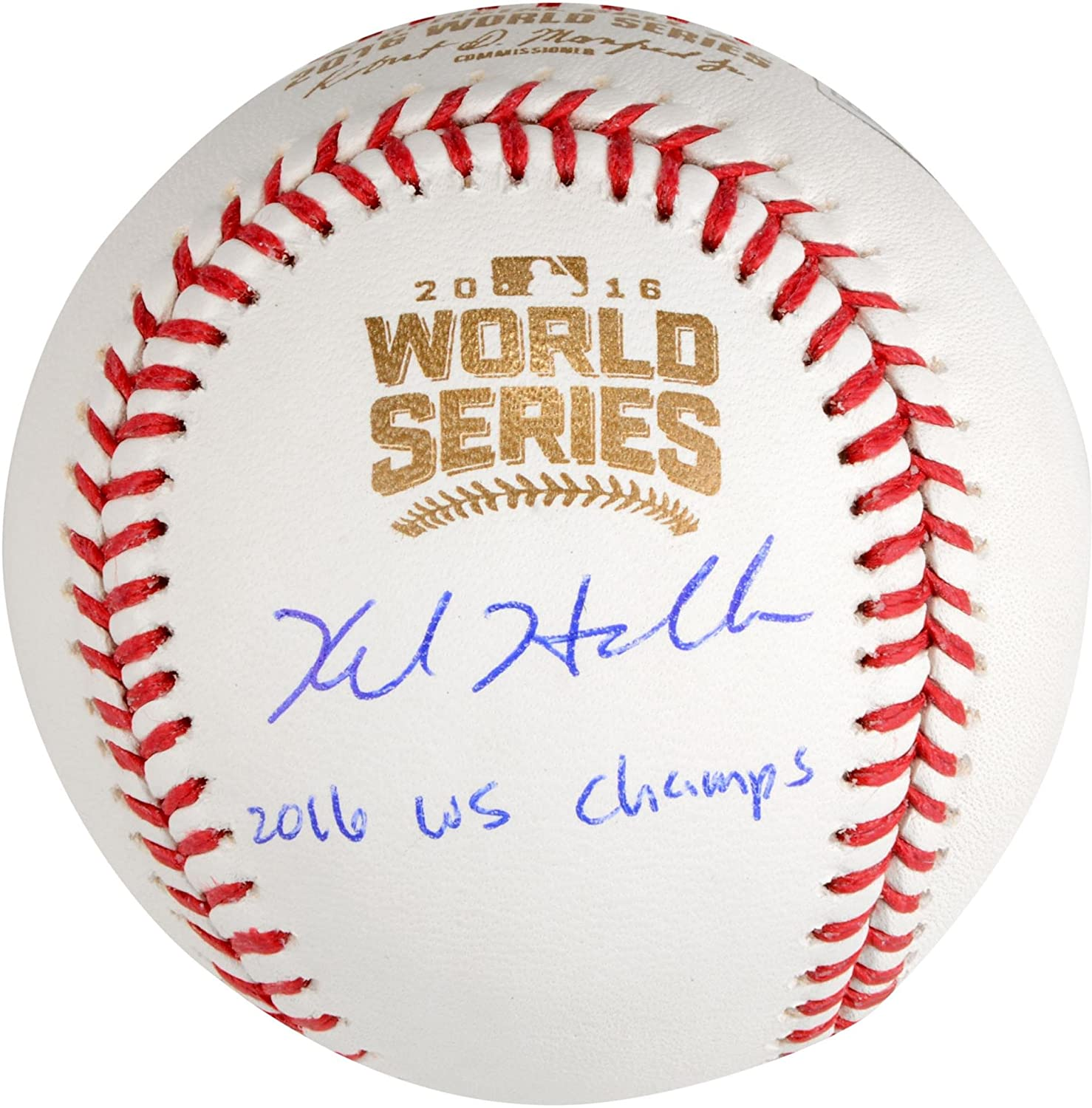 Kyle Hendricks Chicago Cubs 2016 MLB World Series Champions Autographed World Series Logo Baseball with 2016 WS Champs Inscription - Fanatics Authentic Certified
