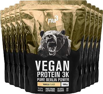 nu3 Proteína Vegana 3K - Paquete con 9 kg de Fórmula - 71,2% de Proteína a Base de 3 Componentes Vegetales - Proteínas Para el Crecimiento de la Masa ...