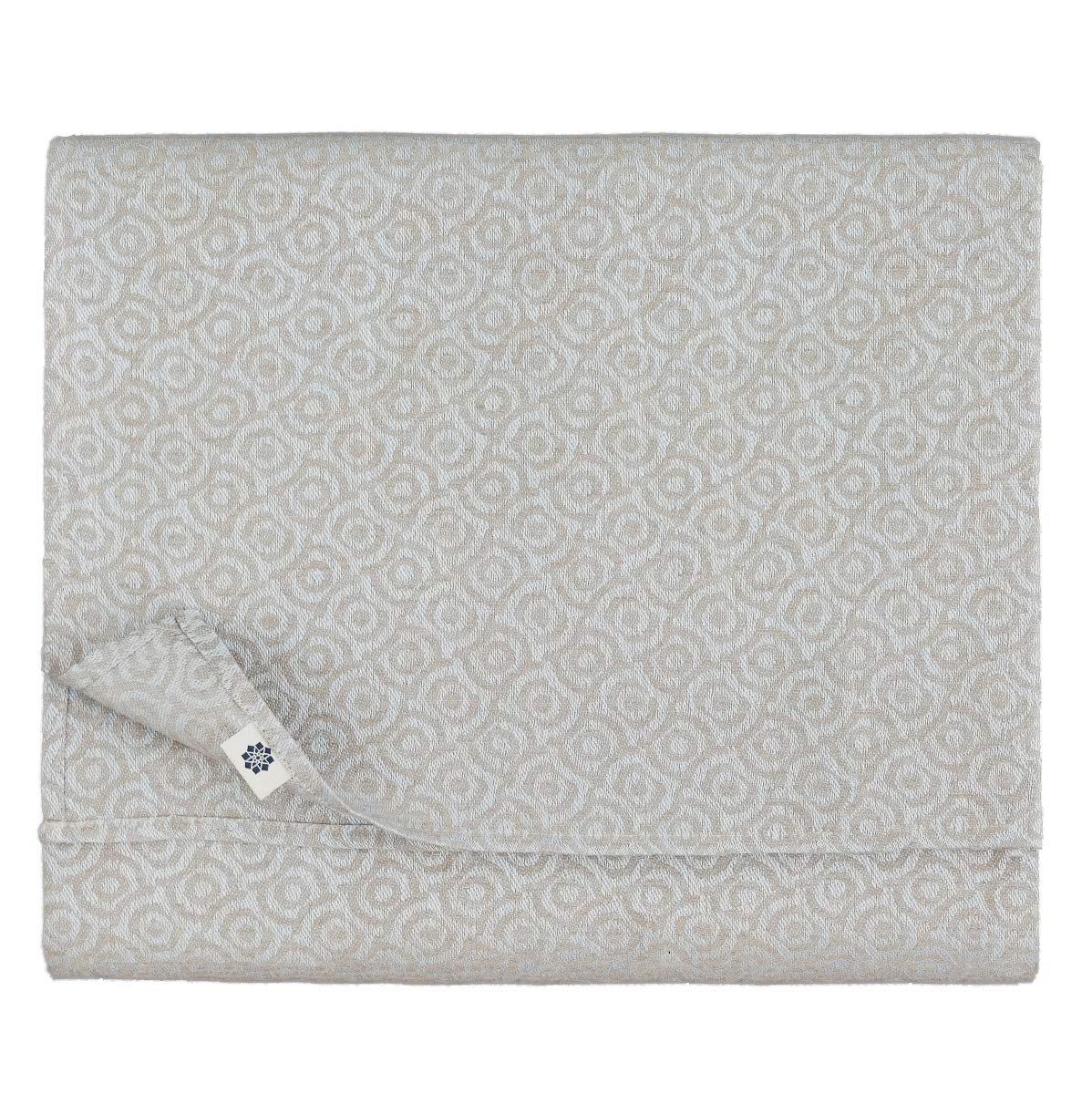 Linen & Cotton Luxus Damast Tischdecke Cervo - 100% Leinen (147 x 250 cm, Ornamente) Hellblau Natur