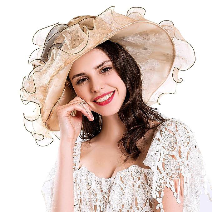 Women s Kentucky Derby Fascinator Hat Tea Party Wedding Wide Brim Sun Hat  (Beige) at Amazon Women s Clothing store  c69cd8b9de4