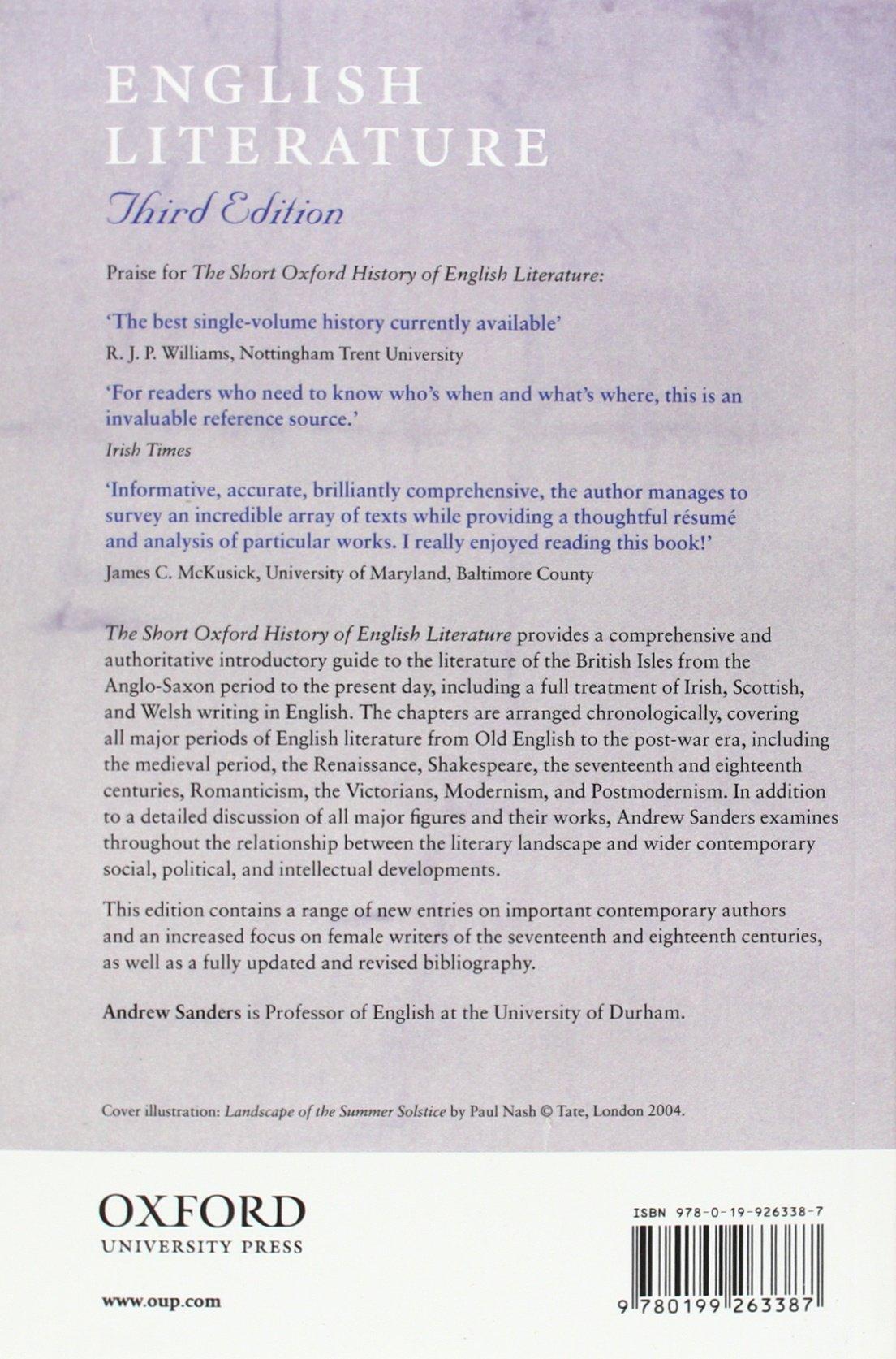 Amazon.com: The Short Oxford History of English Literature ...