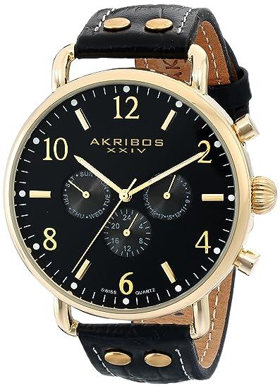 Akribos XXIV Hombre Ultimate Analog Display Reloj Negro de Cuarzo Suizo: Amazon.es: Relojes