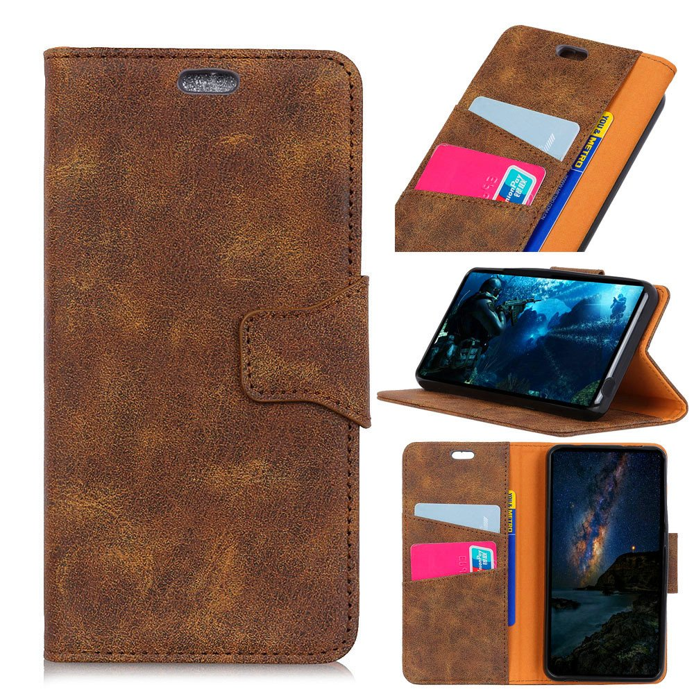 Scheam Flip Wallet Case Compatible with Xiaomi Redmi S2 Backcover Shock Protection with Card Slots Lightweight Design and Adjustable Stand Brown