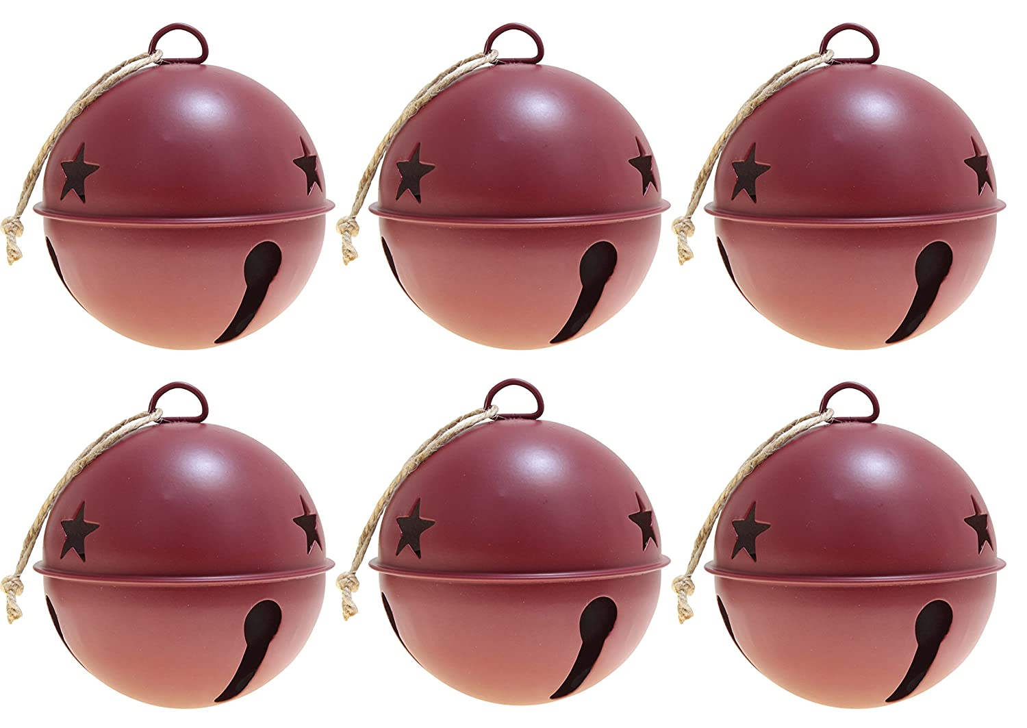 Jingle Bell Ornaments, 3.35-inch diameter, 6-pack (Assorted (Silver, Red & Green)) Haute Decor