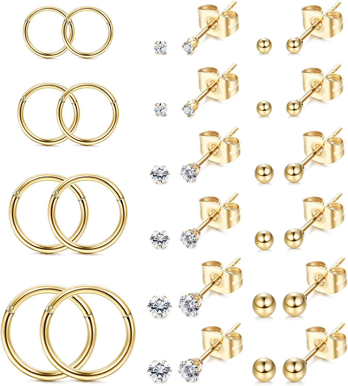 FIBO STEEL 16 Pairs Cartilage Earrings for Men Women Ball CZ Stainless Steel Stud Earrings Helix Conch Daith Ear Piercing Jewelry Set