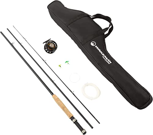 Wakeman Outdoors Fly Fishing Pole 3 Piece Collapsible 97-Inch Fiberglass and Cork Rod and Ambidextrous Reel Combo with Carry Case and Accessories