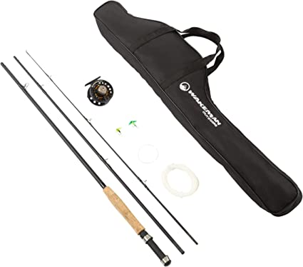 Amazon Com Wakeman Outdoors Fly Fishing Pole 3 Piece Collapsible 97 Inch Fiberglass And Cork Rod And Ambidextrous Reel Combo With Carry Case And Accessories 80 Fsh5046 Sports Outdoors
