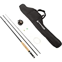Fly Fishing Starter Set- 8' Fiberglass Rod, Aluminum Reel, Travel Bag, 12 Dry Flies & Box