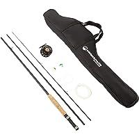 Fly Fishing Starter Set- 8' Fiberglass Rod, Aluminum Reel, Travel Bag, 12 Dry Flies & Box