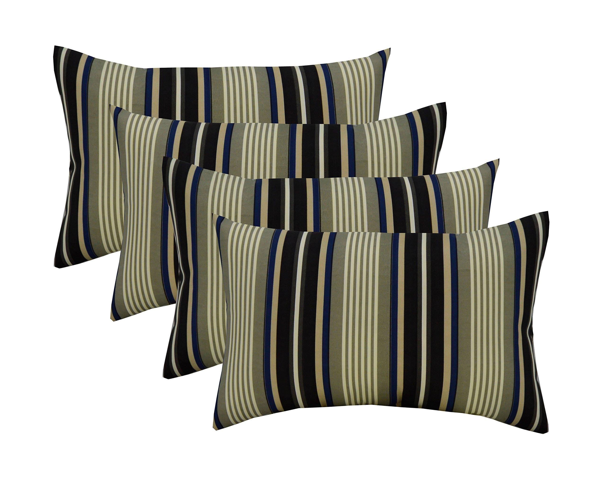 RSH Décor Set of 4 Indoor/Outdoor Lumbar Rectangular Throw Pillows (12''x20'') Black, Gray, Blue Stripe