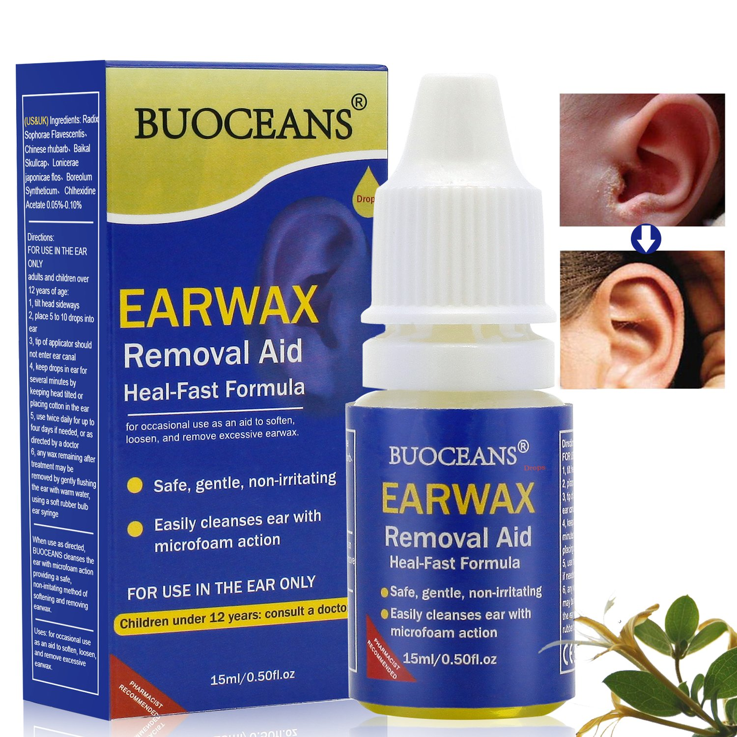 Ear Drops, Ear Infection Treatment, Earache Drops,Ear Infection Drops, Earwax Removal Aid Drops, Clean The Earwax and Relieve The Outer Ear